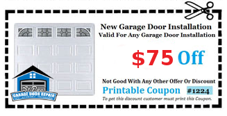Coupon For $75 Off Garage Door Installation.