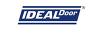 White font color with blue background for ideal garage door logo.