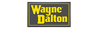 Yellow font logo with a gray background for wayne dalton.